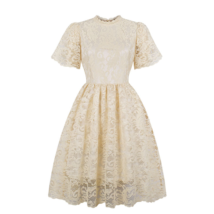 Vintage Apricot Floral Lace Wedding Party Dress Short Sleeves Midi Dress N18212