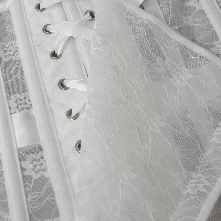 Cheap Corset for Womens, Waist Cincher Corset, See-through Steel Boned Corset, White Underbust Corset, Lace Underbust Corset, Women