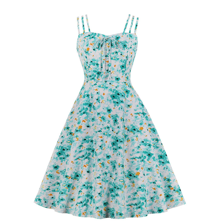 Vintage Floral Print Spaghetti Straps Sleeveless High Waist Summer Party Swing Slip Dress N20569