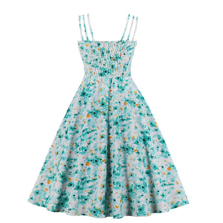 Sexy Floral Print Midi Dress, Vintage Floral Print Cocktail Party Dress, Fashion Casual Office Lady Dress, Sexy Tea Party Dress, Retro Party Dresses for Women 1960, Vintage Dresses 1950