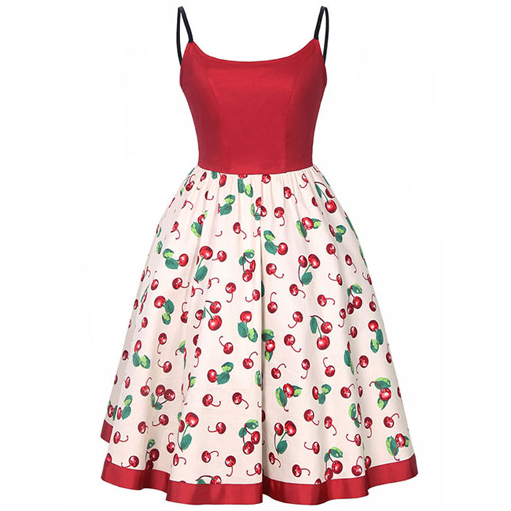 Women's Vintage Floral Print Sweetheart Neckline Spaghetti Strap Swing Midi Dresses N14395
