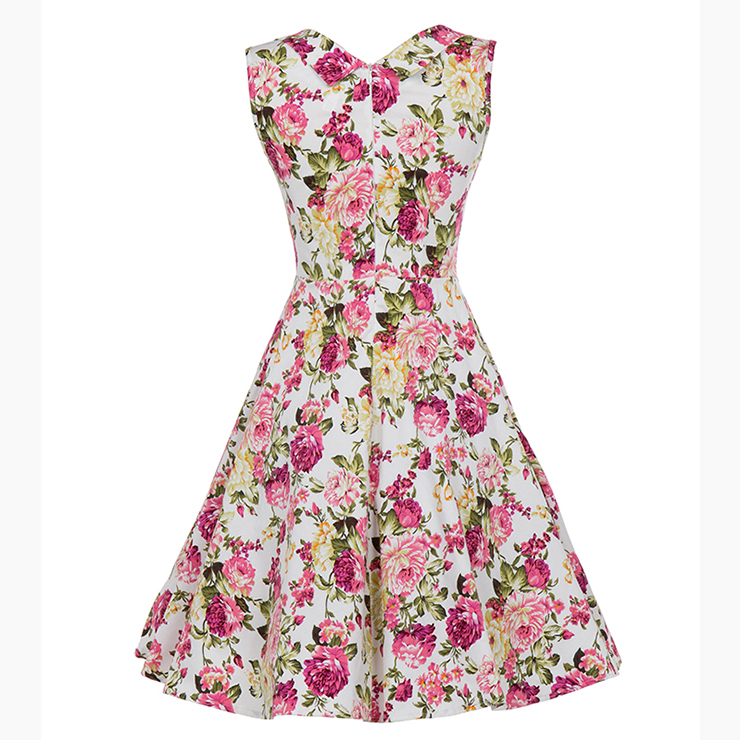 Vintage Dresses for Women, Sexy Dresses for Women Cocktail Party, Vintage High Waist Dress, Sleeveless Swing Daily Dress, Vintage Floral Printed Printed Swing Dress, #N18134