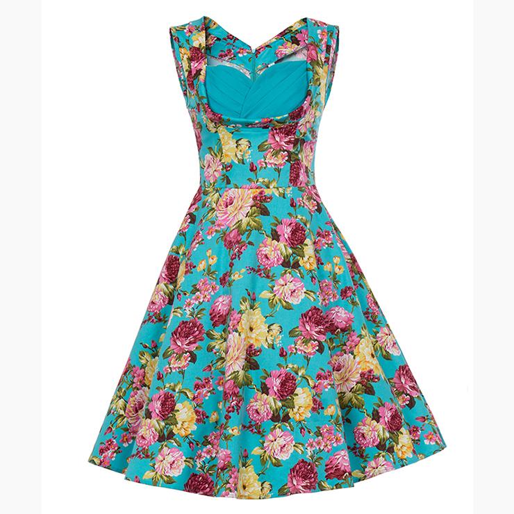 Vintage Blue Floral Printed Pleated Sweetheart Neckline Sleeveless Midi Swing Dress N18135