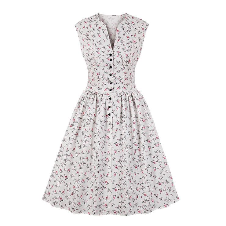 Vintage White Floral Print V Neck Sleeveless High Waist Swing Dress N18666