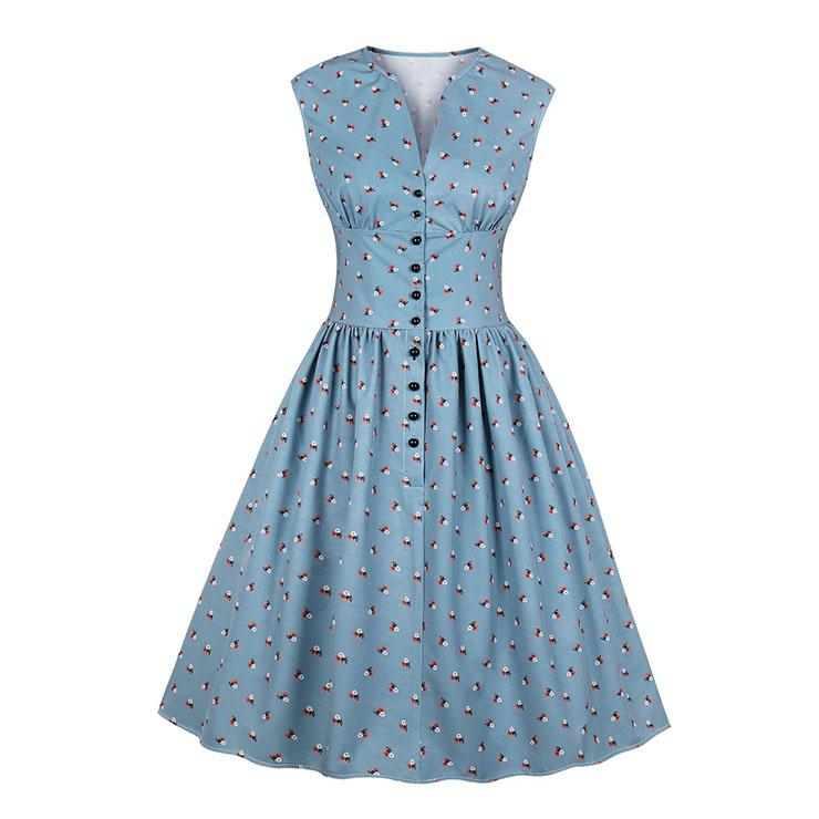 Vintage Blue Floral Print V Neck Sleeveless High Waist Swing Dress N18668