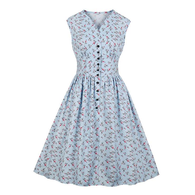 Vintage Light-blue Floral Print V Neck Sleeveless Front Button High Waist Swing Dress N19071