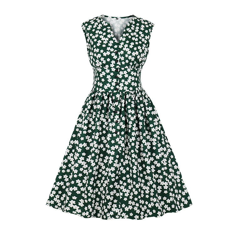 Vintage Dark-green Floral Print V Neck Sleeveless Front Button High Waist Swing Dress N19072