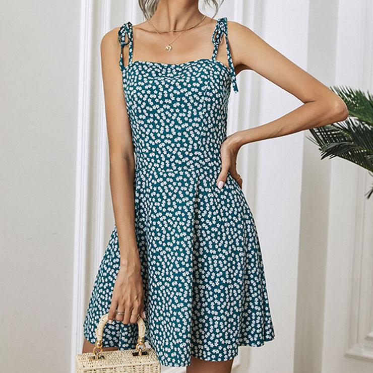 Sexy Green Floral Print Halter Straps Lace-up High Waist A-line Summer Mini Dress N21101