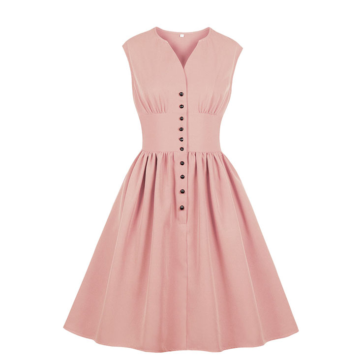 Vintage Rockabilly V Neck Front Button Sleeveless High Waist Cocktail Party Swing Dress N19105