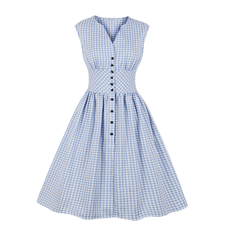 Vintage Rockabilly Blue Checkered Front Button High Waist Cocktail Party Swing Dress N19401