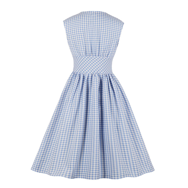 Cute Check Swing Dress, Retro Plaid Dresses for Women 1960, Vintage Dresses 1950