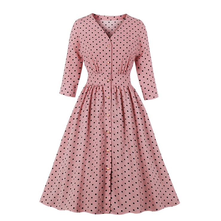 Vintage Rockabilly Polka Dots Half Sleeve Front Button High Waist Cocktail Party Swing Dress N19947