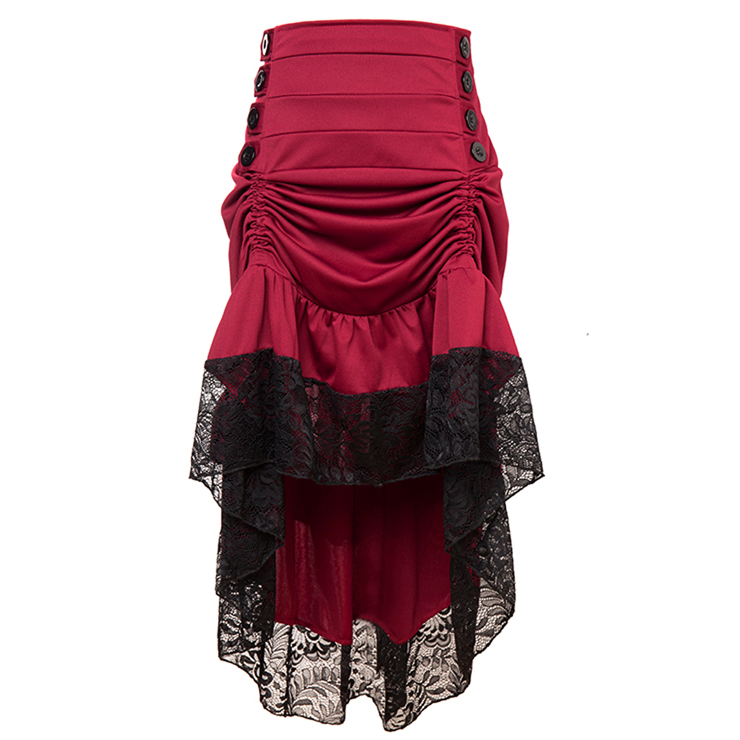Vintage Gothic Wine-Red High Waist Button Lace Trim Ruffled High-low Skirt N17137
