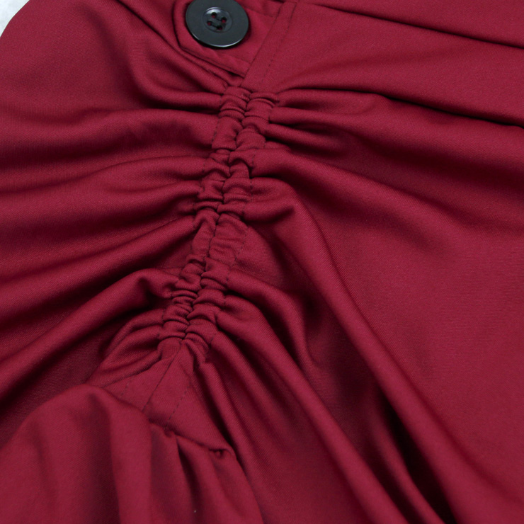 Gothic Party Wine-Red High-low Skirt, High Wiat Button Skirt for Women, Gothic Cosplay High-low Skirt, Halloween Costume Skirt, Plus Size Skirt, Vintage Gothic Pirate Costume, #N17137