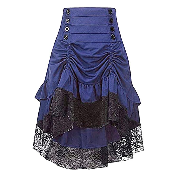 Vintage Gothic Blue High Waist Button Lace Trim Ruffled High-low Skirt N20863