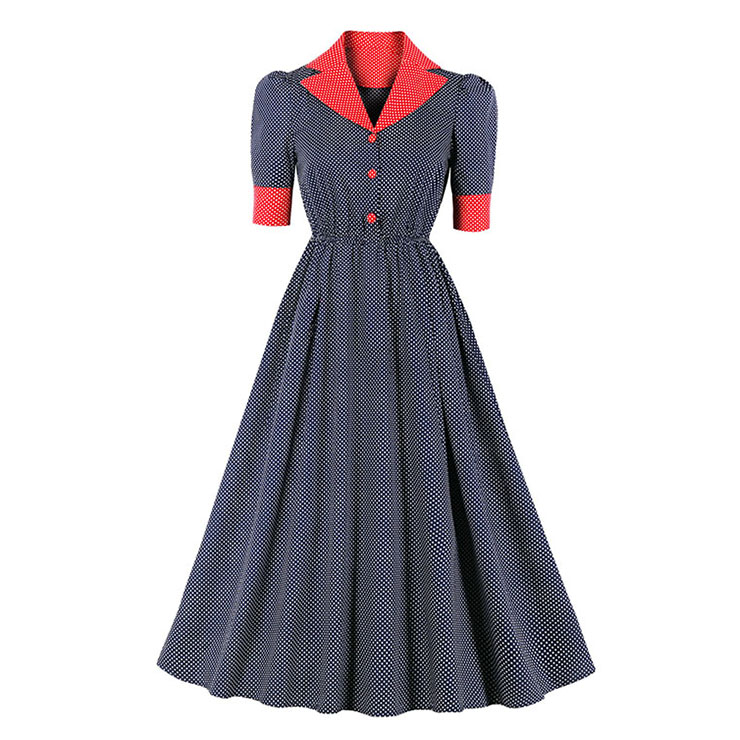 Vintage Hepburn Polka Dots Suit Collar Half Sleeve Elastic Waist Party Big Swing Dress N20832