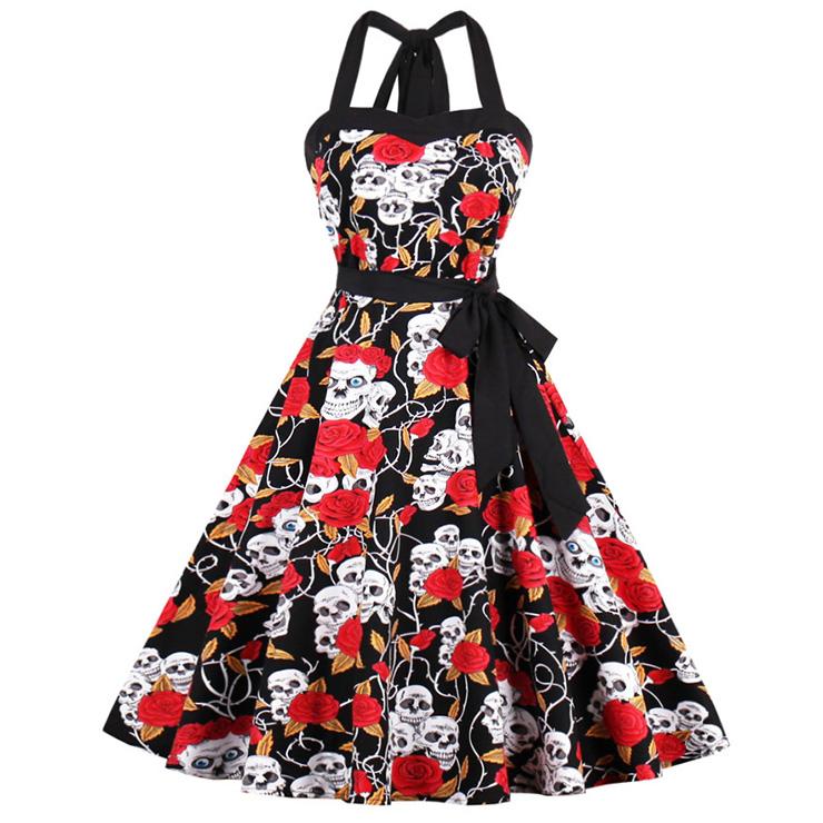 6758a732cb0 Women s Vintage Retro Halter Skull Rose Print Halloween Party Swing Dress  N14193