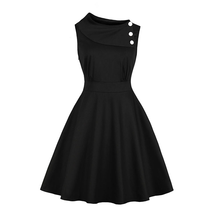 Vintage Sideway Collar with Buttons Sleeveless High Waist Midi Dress N18867