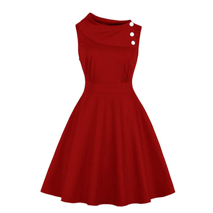 Vintage Sideway Collar with Buttons Sleeveless High Waist Midi Dress N18868