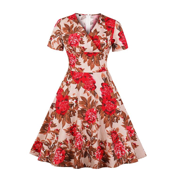 Vintage Floral Print V Neckline Short Sleeve High Waist Swing Dress N18871