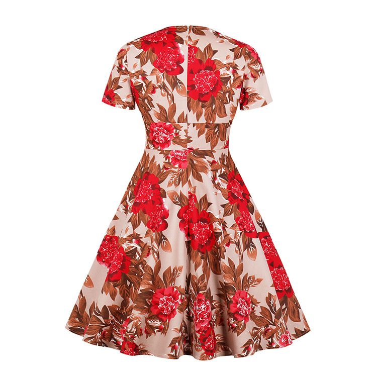 Cute Summertime Printed A-line Swing Dress, Retro Printed Dresses for Women 1960, Vintage Floral Printed Dresses 1950