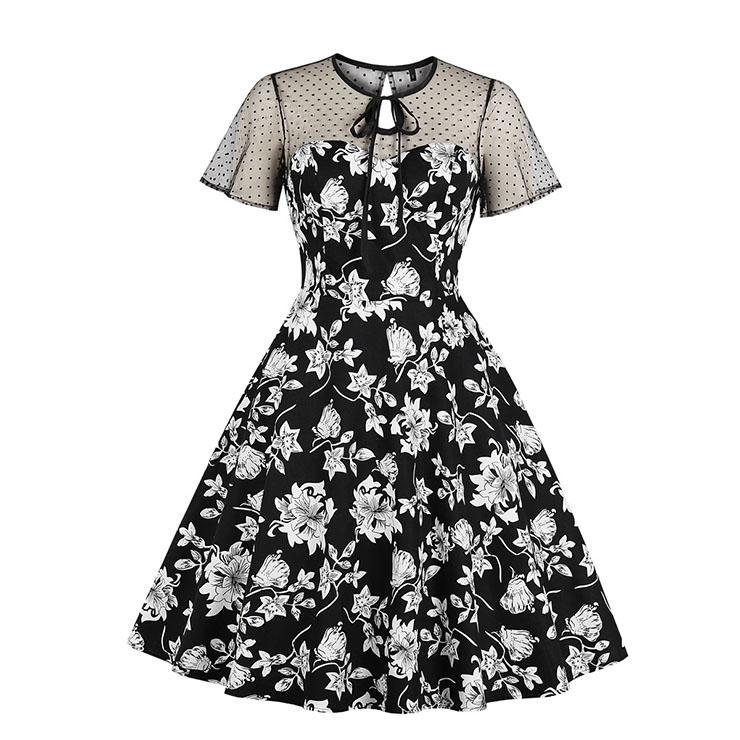 Vintage Sheer Mesh Patchwork Heart-shaped Bodice Floral Printed High Waist Swing Dress N18900