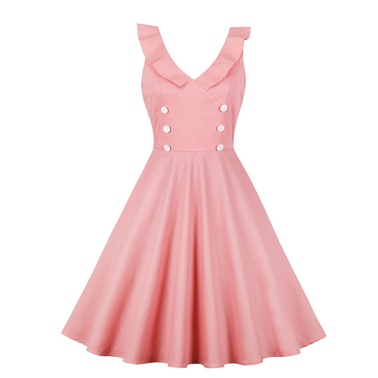 Retro Low-cut Ruffle Lapel Double-breasted Sleeveless High Waist Midi Dress N18904