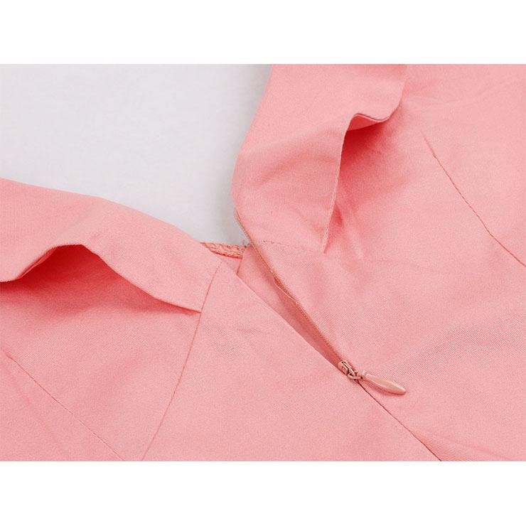 Vintage Double-breasted Dress, Fashion Ruffle Lapel A-line Swing Dress, Retro Dresses for Women 1960, Vintage Dresses 1950