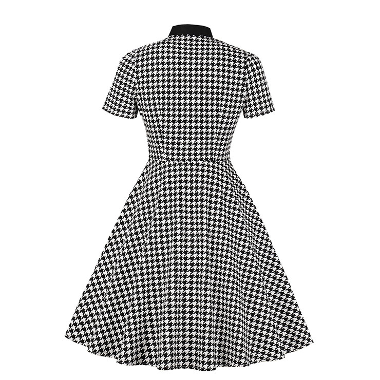 Vintage Houndstooth Dress, Fashion Houndstooth High Waist A-line Swing Dress, Retro Houndstooth Dresses for Women 1960, Vintage Dresses 1950