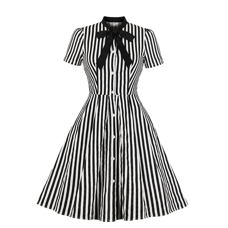 Vintage Black and White Vertical Striped Butterfly Collar Short Sleeve High Waist Midi Dress N18907