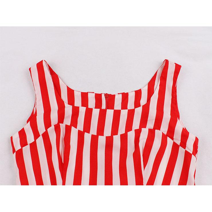 Vintage Striped Dress, Fashion Striped High Waist A-line Swing Dress, Retro Striped Dresses for Women 1960, Vintage Dresses 1950