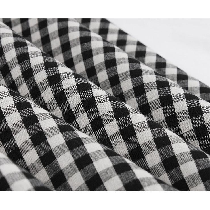 Vintage Grid Dress, Fashion Checkered High Waist A-line Swing Dress, Retro Plaid Dresses for Women 1960, Vintage Dresses 1950