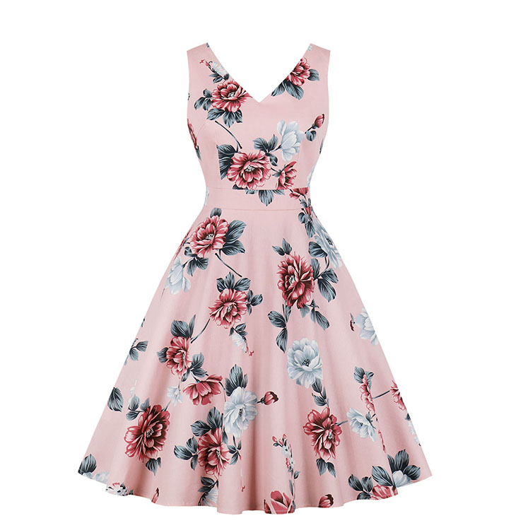 a3386e0bf53 Retro Rockabilly Floral Print V Neckline Sleeveless Frock Party Midi Dress  N18964