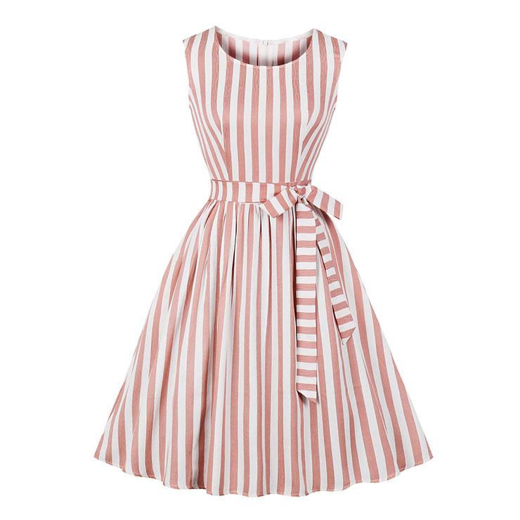 Vintage Rockabilly Vertical Striped Round Collar Sleeveless Frock Summer Day Dress N18979