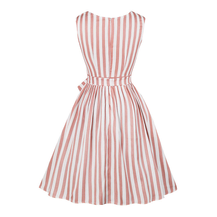 Retro Vertical Striped Dress, Fashion Vertical Striped High Waist A-line Swing Dress, Retro Dresses for Women 1960, Vintage Dresses 1950