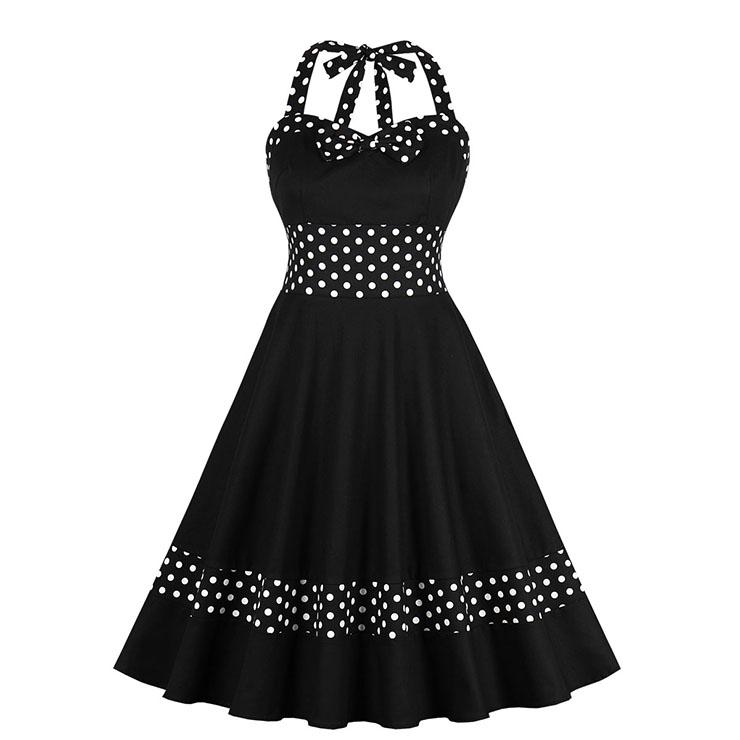 Retro Rockabilly Polka Dots Sweetheart Neckline Strappy Halter Frock Summer Dress N18983
