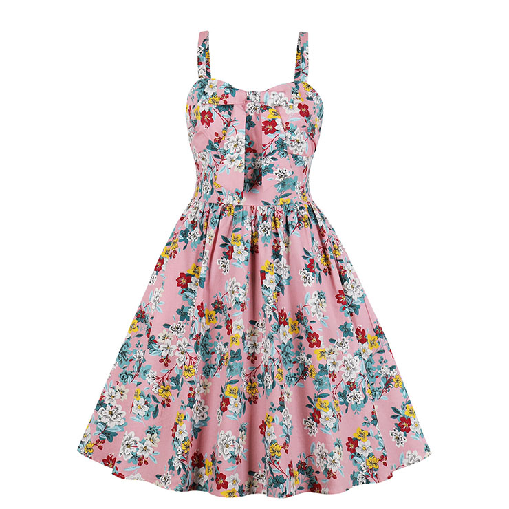 Retro Rockabilly Floral Printed Sweetheart Neckline Spaghetti Straps Frock Summer Day Dress N18984