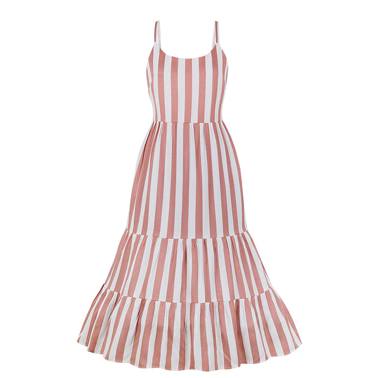 Retro Vertical Striped Spaghetti Straps Frock Summer Day Ruffled Beach Maxi Slip Dress N18985