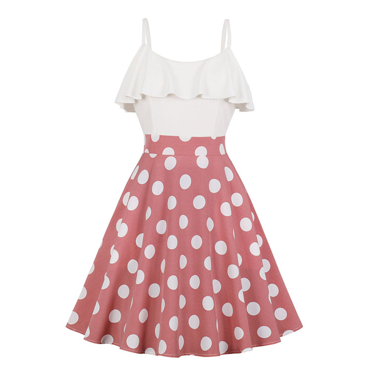 Vintage Rockabilly Polka Dots Ruffle Bodice Spaghetti Straps Frock Summer Swing Dress N18990
