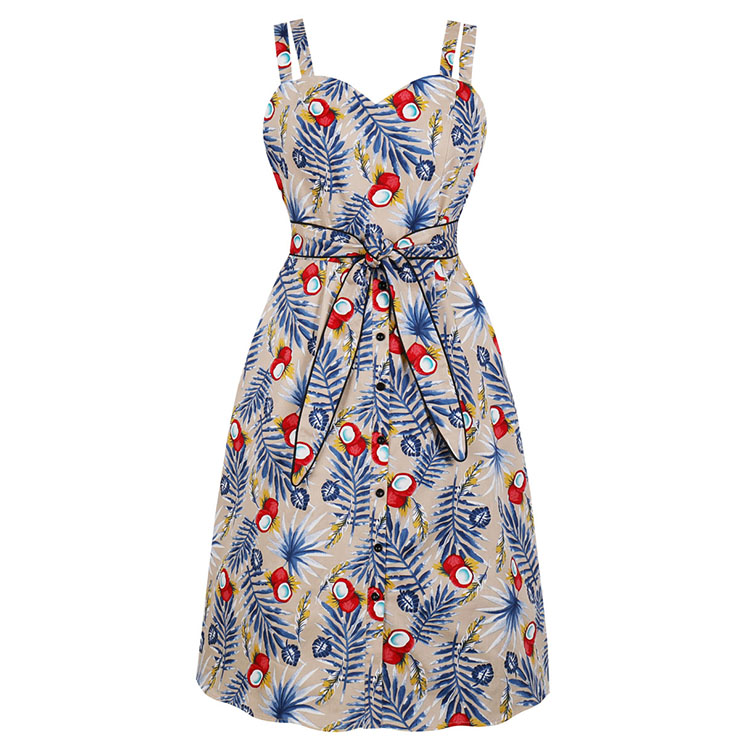 Retro Tropical Coconut Palm Printed Sweetheart Bodice Double Straps Frock Summer Midi Dress N18993
