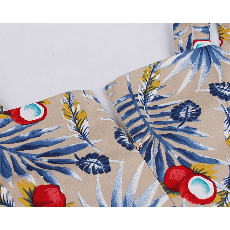 Fashion Tropical Printed Cocktail Party Midi Dress, Retro Cocktail Midi Dress, Vintage High Waist Midi Dress, Retro Dresses for Women 1960, Vintage Dresses 1950
