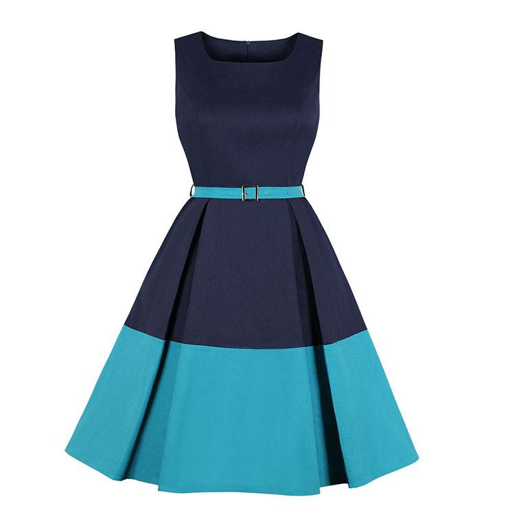 Elegant Crew Neck Sleeveless Contrast Color Patchwork Midi Formal Dress With Belt N19026