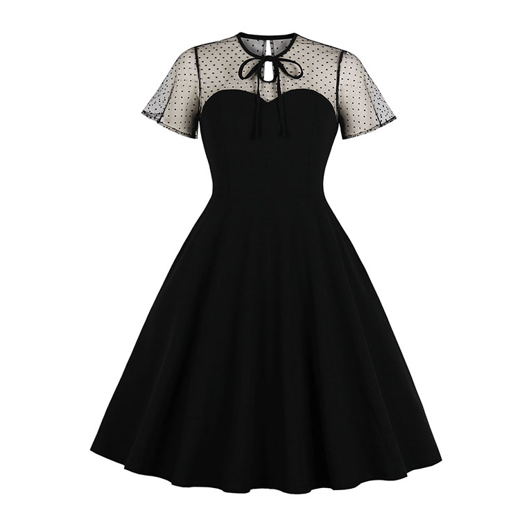 Vintage Sheer Mesh Patchwork Heart-shaped Bodice High Waist Swing Dress N19284