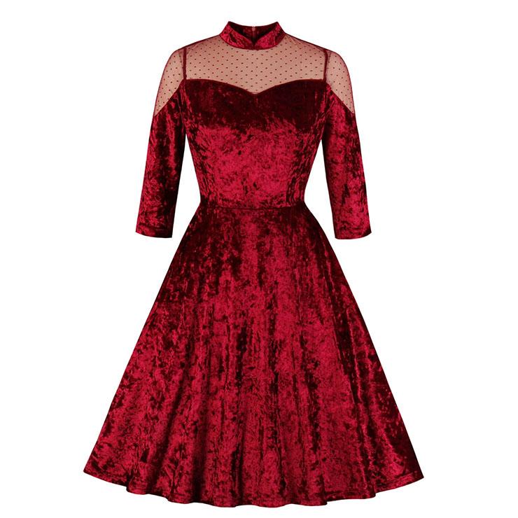 Vintage Sheer Mesh Spliced Velvet Heart-shaped Bodice High Waist Midi Swing Dress N19934