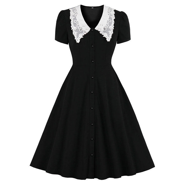 Vintage Doll Collar Short Sleeve Front Button High Waist Contrast Color Swing Dress N21351