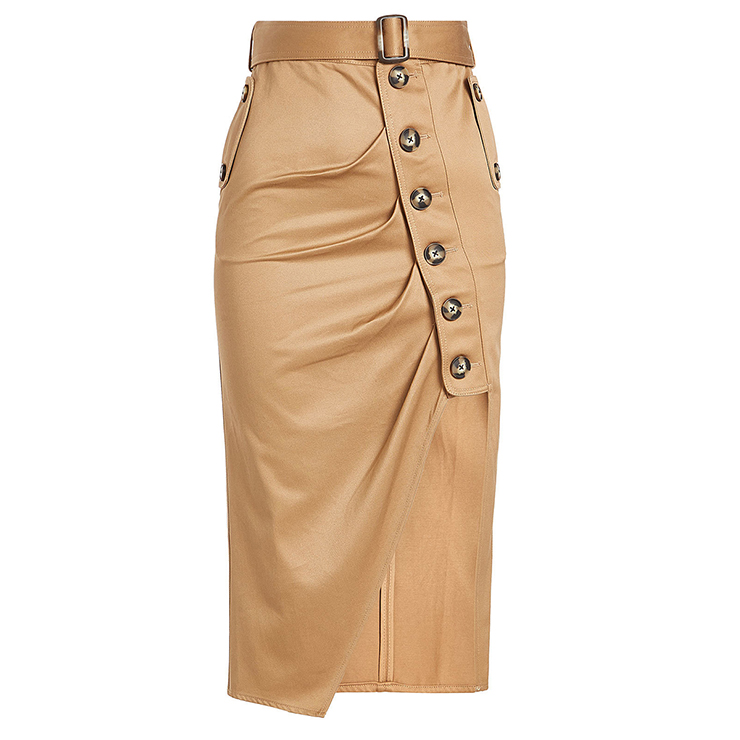 Women's Vintage Khaki Mid-Calf High Waist Pleated Asymmetrical Skirt N15691