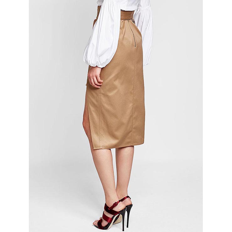 Vintage Khaki Skirt, Mid-Calf Skirt for Women, Khaki Pencil Skirt, High Waist Asymmetrical Skirt, Khaki Casual Skirt, Irregular Pencil Skirt, #N15691