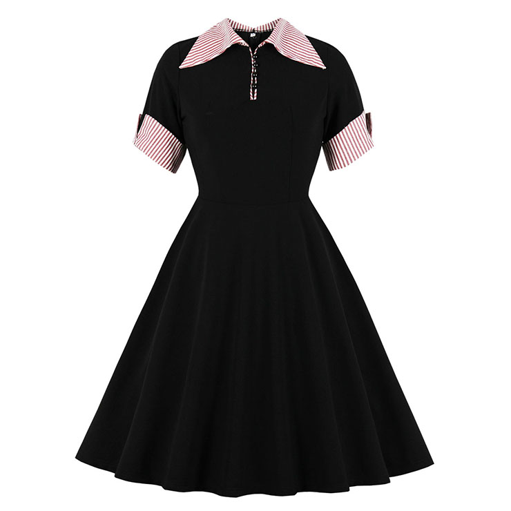 Vintage Turn-down Collar Front Button Set-in Short Sleeve A-line Swing Dress N19803