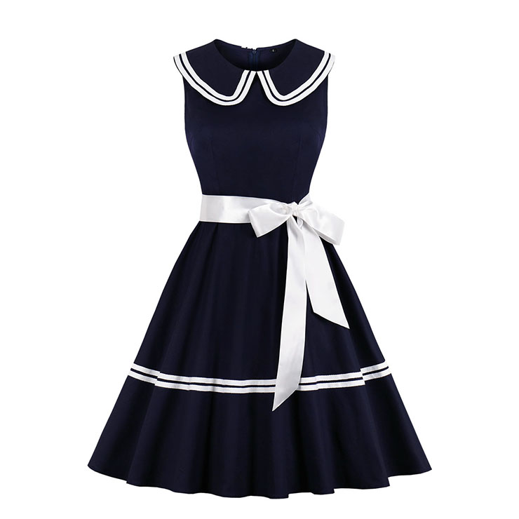 Vintage Dark-blue Lapel Sleeveless High Waist Belt Midi A-line Swing Dress N20030