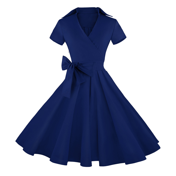 Vintage Navy-Blue Short Sleeves Swing Rockabilly Ball Party Casual ...